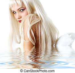 angel in water - portrait of lovely blonde with angel wings...