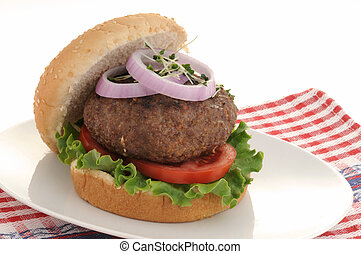 Burger - Delicious grilled hamburger with lettuce, tomato...