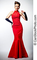 Slim beautiful woman newlywed wearing luxurious red wedding...