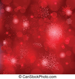 Beautiful soft red snowflake background with bokeh lights -...