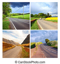 Beautiful collage of rural roads