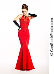 Beauty newlywed in long wedding red dress and fashion gloves