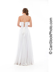 Happy beautiful bride back Beautiful shoulders Wedding dress...