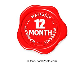 Twelve month warranty seal - Rendered artwork with white...