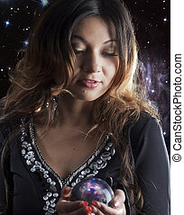 fortuneteller with crystal ball - fortune teller with...