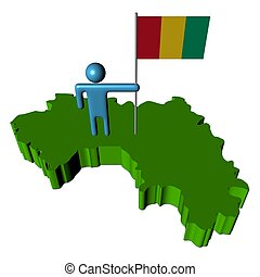 person with flag on Guinea map illustration