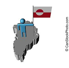 person with flag on Greenland map illustration