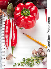 Blank notepad with ingredients for your recipe