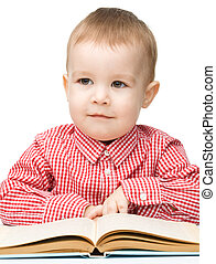 Little child play with book