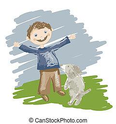 Tecknad film illustration hund spring stock foton och bilder
