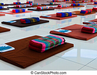 Meditation Session - Cushions arrangement is ready for a...