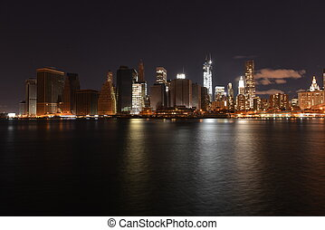 View of downtown Manhattan following Hurricane Sandy and...