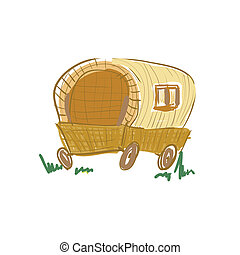 Illustration of gypsy wagon sketch
