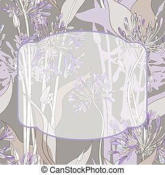 Graphic flowers frame - Graphic background with violet...