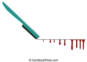 Razor cut and blood flowing on white background.