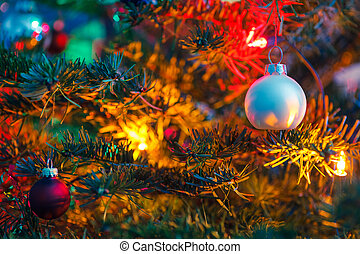 Decorated x-mas tree - Close-up of decorated x-mas tree