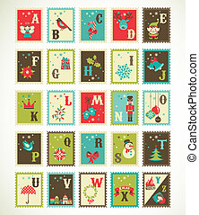 Christmas retro alphabet with cute vector xmas icons -...