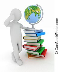 Man by presentation a globe and books over white background....