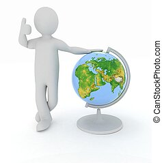 Man by presentation a globe over white background Elements...