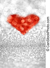 Sparkling Heart - Abstract sparkling red bokeh heart with...
