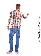 casual man pointing at something