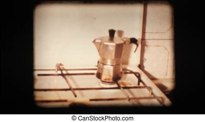 Vintage 8mm. Coffee pot on stove top