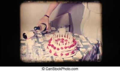 Vintage 8mm. Cake and champagne