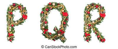 alfabeto, aislado, Cartas, Plano de fondo, blanco, navidad