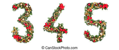 Christmas numbers, isolated on white background