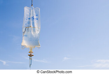 IV Bag - An IV bag used for the introduction of intravenious...