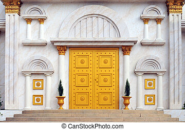Golden Door - Front and center view of the entrance -- a...