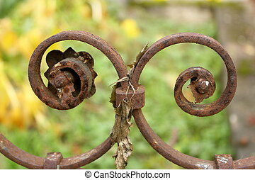 detail of cast iron fence