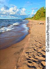 superiore,  Michigan, spiaggia, lago