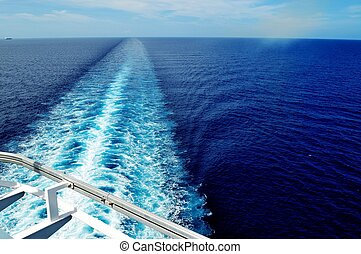 Cruise Ship Wake - The wake of a cruise ship sailing in the...