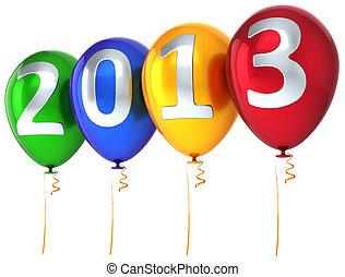 nouveau, année, 2013, Ballons, multicolore