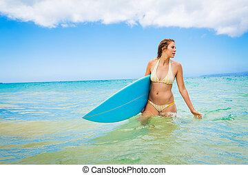 Surfista, menina