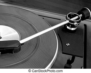 Record-Player - A close up of a Record-Player in black and...