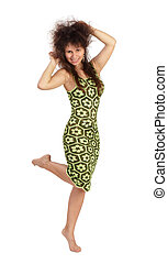 Young beautiful caucasian woman in green summer dress - dancing. Isolated on white background