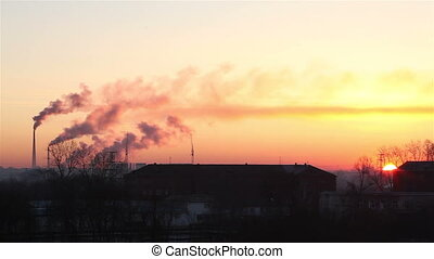 Sunrise of the industrial city