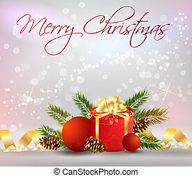 Christmas background with decoration, gift and ribbons