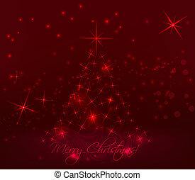 Red abstract christmas tree background