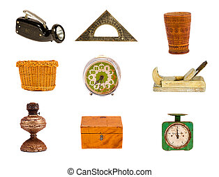 various old objects and tools on white
