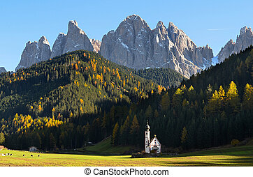 Dolomites mountain church - The famous church of San...