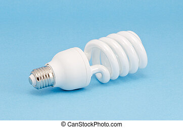 modern energy saving bulb on azure background
