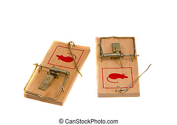two isolated on white mouse traps - two isolated on white...