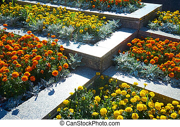 flower beds - raised flower beds in concrete frame