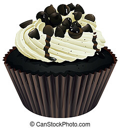 a cupcake - Illustration of an isolated a cupcake on a white...