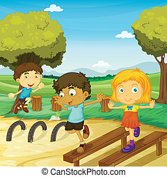 kids - illustration of kids playing in a beautiful nature
