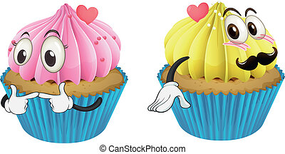 cupcakes - illustration of cupcakes on a white background