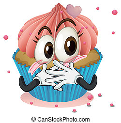 a cup cake - illustration of a cup cake on a white...